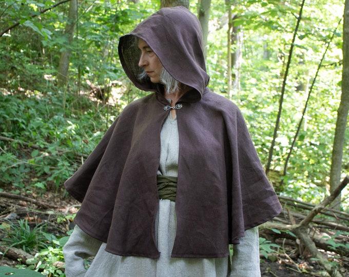 Hooded Linen Capelet, Celtic, Renaissance, Medieval Woodland Elf Elven /P/ (LB)