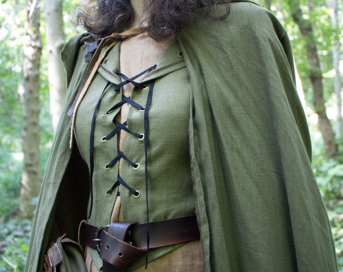 Medieval Hooded Vest, Elven Woodland Festival, Women's Lace Up Linen Bodice /F/ (LB)