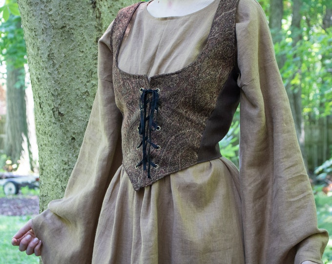 XS Tapestry Bodice, Renaissance, Medieval, Noble Lady Deluxe - /F/ (LB)