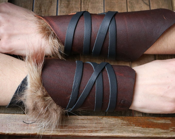 Leather Cuffs - Warrior Viking Tribal Larp Costume Cosplay - Pair #13b - /F/ (AB)