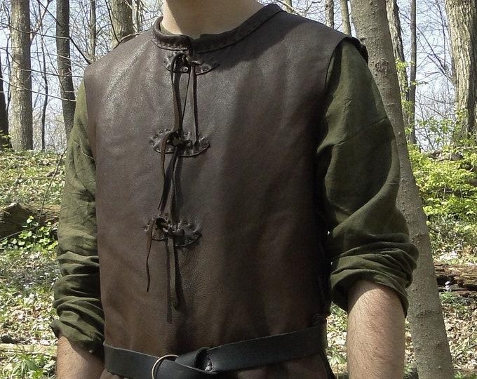 Medieval Leather Tunic Jerkin, Classic Woodsman - PL (AB)