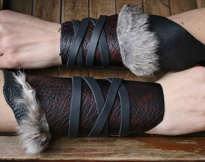 Leather Cuffs - Warrior Viking Tribal Larp Costume Cosplay - Pair #17a