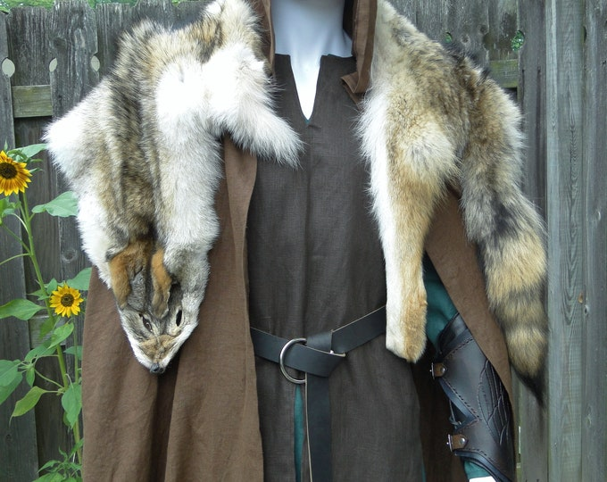 Coyote Fur Pelt Mantle, Viking, Medieval, Barbarian - Costume Accessory