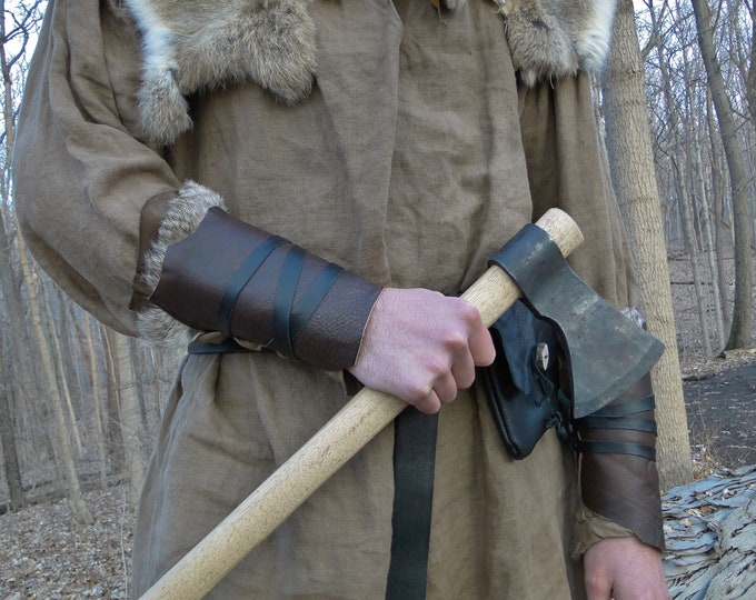 Warrior Wrap Cuffs, Leather Viking Bracers, Soft Medieval Arm Guards - Choose Your Pair - / F/ (AB)
