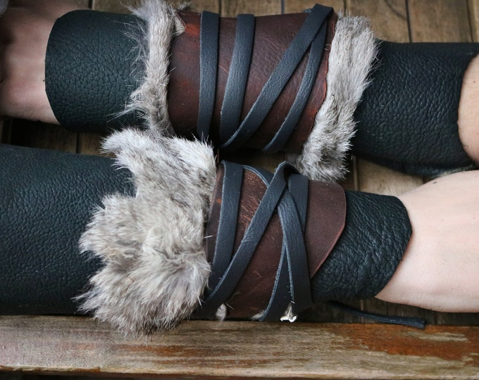 Leather Cuffs - Warrior Viking Tribal Larp Costume Cosplay - Pair #1b