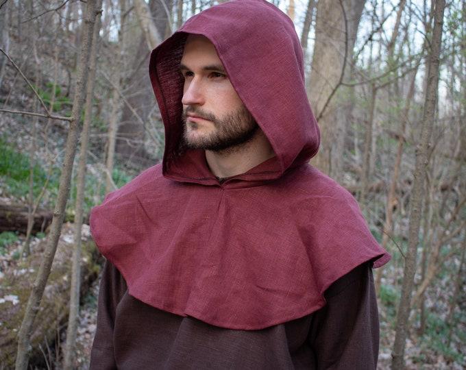 Medieval Linen Hood Capelet - Robin Hood, Renaissance, Archer Ranger - /F/ (LB)