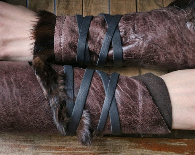 Leather Cuffs - Warrior Viking Tribal Larp Costume Cosplay - Pair #4a