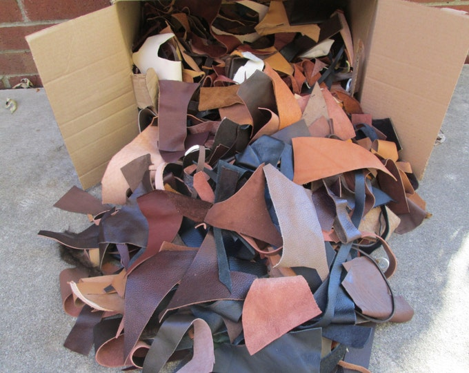 Scrap Leather 4-5 Pound lb - Soft Leather - High Quality, Mixed Selection, Small Pieces