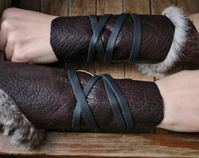 Leather Cuffs - Warrior Viking Tribal Larp Costume Cosplay - Pair #4c