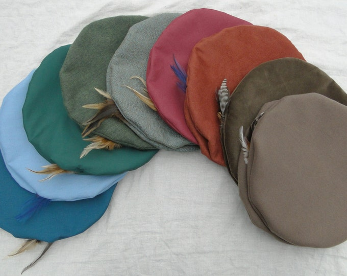 Renaissance Hats - Medieval Mens or Womens - Lots of Color & Fabric Choice - FC (LB)