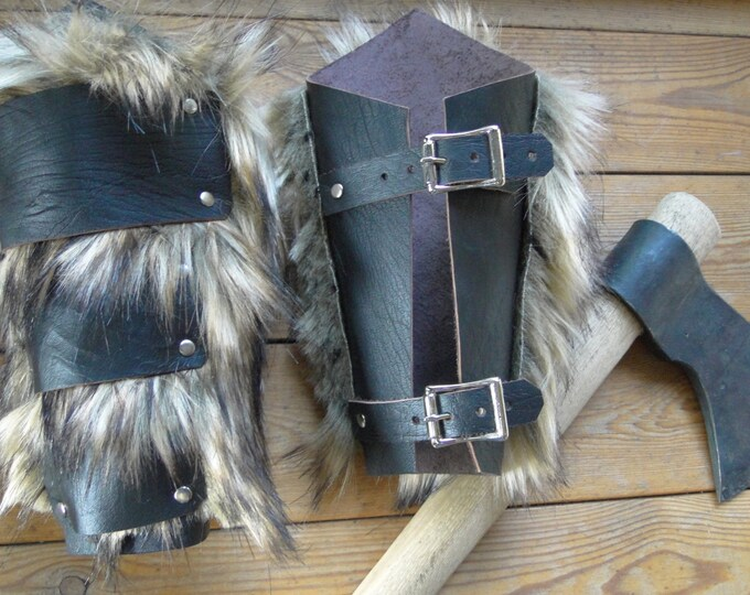 Leather & Fur Barbarian Bracers - Viking Warrior Faux Wolf Fur Arm Guards, Medieval, Renaissance - Choose Color!