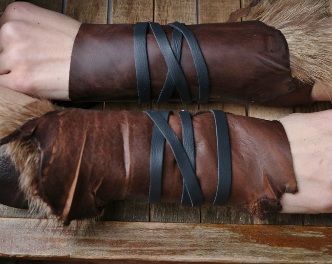 Leather Cuffs - Warrior Viking Tribal Larp Costume Cosplay - Pair #1d