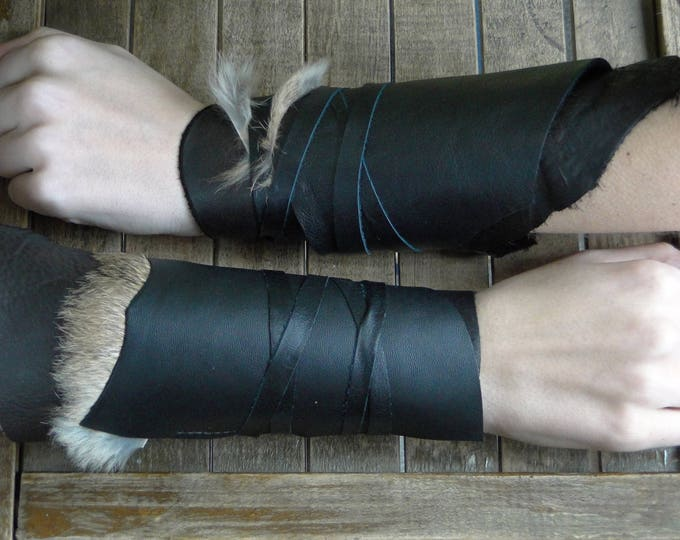 Leather Cuffs - Warrior Viking Tribal Larp Costume Cosplay - Pair #10d