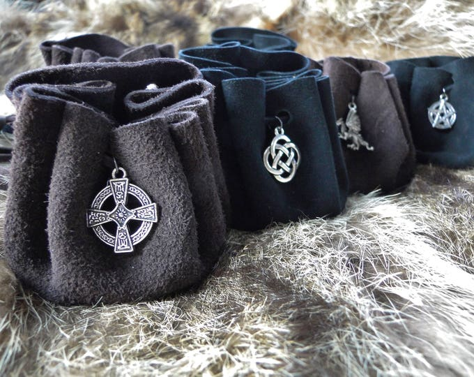 Leather Charm Pouch, Small Medieval Drawstring Rune Bag, Leather Dice Pouch / Necklace - Choose Your Color & Charm