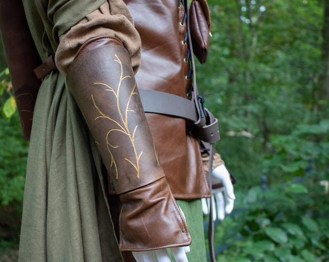 Elven Leather Bracers, Wood Elves Medieval Armor, Choose Colors