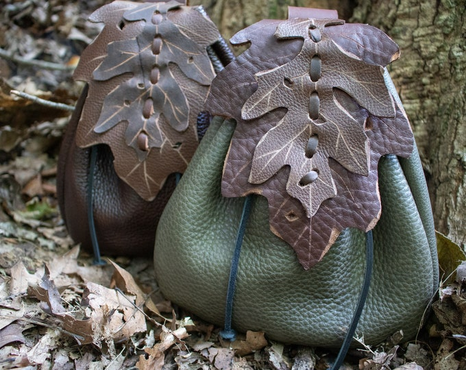 Elven Leaf Belt Bag Leather Pouch, Fantasy Style - Woodland Pouch Oak - FCS (AB)