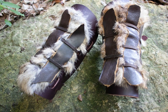 Fur Leather Bracers, Viking Woven Leather Armor, Medieval - The Dane - /P/ (AB)