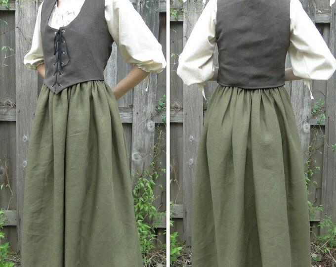 Medieval Renaissance Dress 3 Piece SET Chemise, Skirt & Reversible Bodice - Womens Size S, M, L, XL - 6 Colors