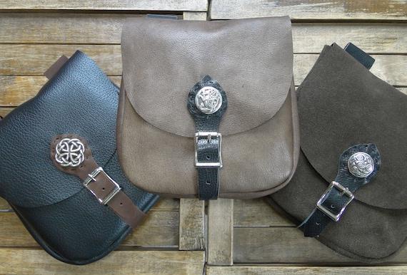 Medieval Leather Pouch, Renaissance Bag, Celtic w/ Buckle Closure, Large The Merchant - /F/ (AB)