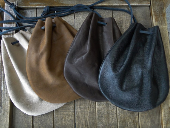 Leather Coin Pouch, Drawstring Bag, Medieval Renaissance - Choose Your Color - /F/ (AB)