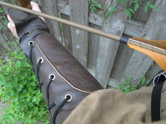 Leather Archery Arm Guard, Medieval Renaissance Glove - Woodland Archer - /F/ (AB)