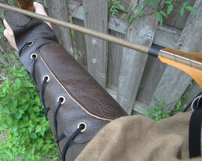 Leather Archery Arm Guard, Medieval Renaissance Glove - WOODLAND ARCHER