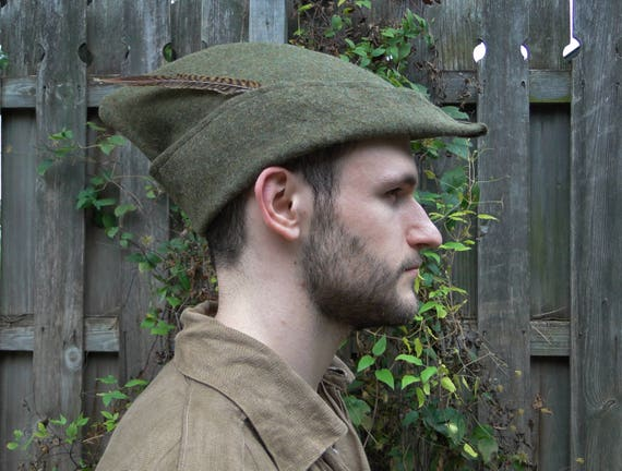 Medieval Robin Hood Hat Woodsman Wool 4 Colors Available  1535e2d40ab