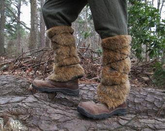 Viking Fur Leggings / Boot Covers, Leg Warmers, Pair - Medieval, Renaissance Fair Costume Accessory - Faux Fur Choose Your Color