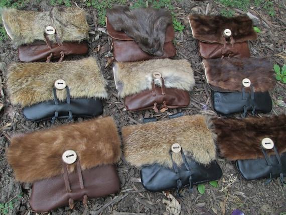 1 Viking Fur Pouch, Choose Your Bag! Leather Belt Bag, Medieval, Renaissance, Medium - The VIKING - /F/ (AB)
