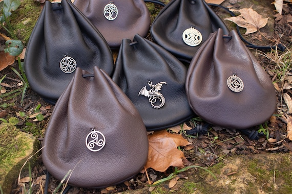 Leather Charm Pouch, Drawstring Bag - Choose Your Color & Style - /F/ (AB)
