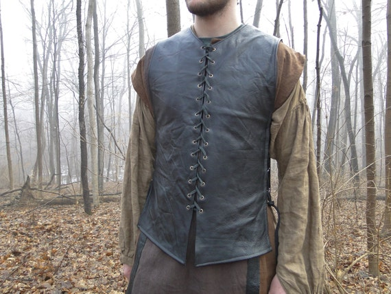 Custom Medieval Leather Tunic / Shirt, Lace up Front and Sides, Sleeveless, Choose Color & Size - /P/ (AB)