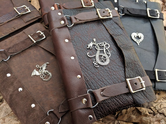 Celtic Leather Journals, Medieval Books - Refillable, Hardback Journal Included - Choose Your Color & Charm - /P/ (AB)