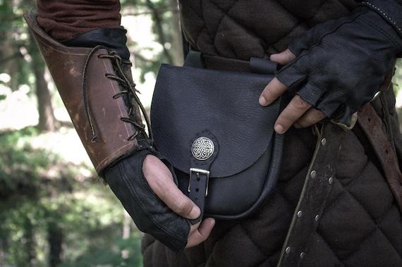 Medieval Leather Bag, Belt Pouch, Renaissance Fair, Cosplay, Larp - The MERCHANT - /F/ (AB)