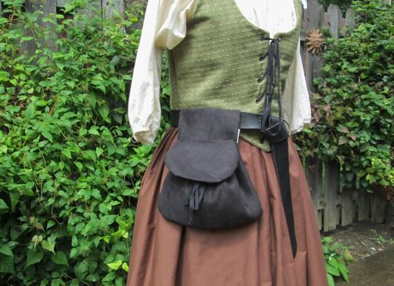 Renaissance Belt Bag, Womens Medieval Purse - Faux Suede or Linen Fabric, Black - /F/ (LB)