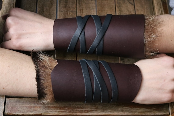 Leather Cuffs - Warrior Viking Tribal Larp Costume Cosplay - Pair #3d - /F/ (AB)