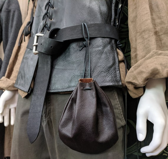 purse for the dice; grey leather purse; medieval scholarship; LARP storage for the dice; Viking costume accessory