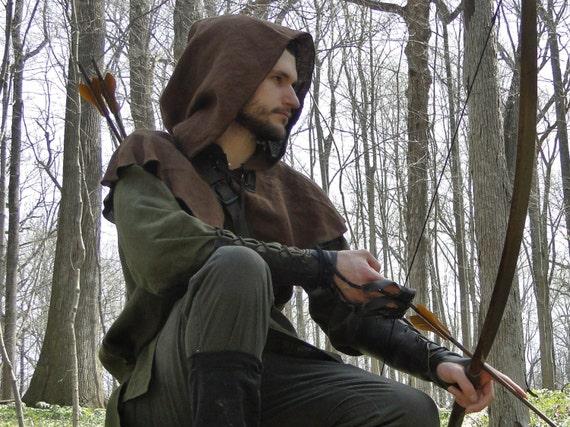 Medieval Hood Linen Capelet - Robin Hood, Renaissance, Archer Ranger - /F/ (LB)
