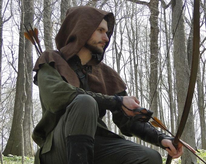 Medieval Hood Linen Capelet - Robin Hood, Renaissance, Archer Ranger - 4 Color Choices!