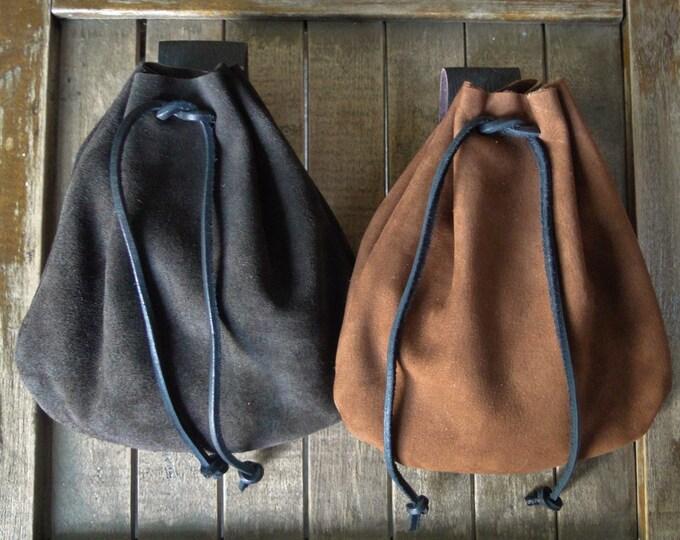 Medieval Leather Pouch, Drawstring Renaissance Bag, Medium - Choose Your Color - THE COMMONER