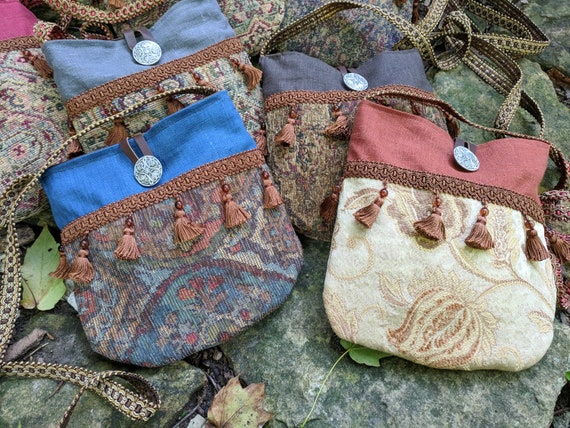 Gypsy Renaissance Purse, Medieval Fair Tapestry Bag, Cross Body - Choose Your Color - /F/ (LB)