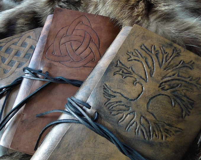 Celtic Leather Journals Medieval Old World Books, Celtic Knot, Tree of Life, Handbound W/ Blank Calligraphy Writing Paper - Choose Your Book