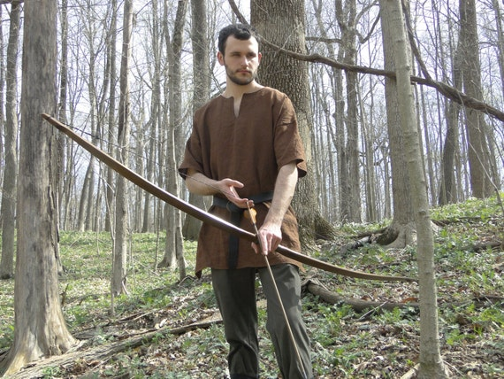 Medieval Shirt Tunic 4 Colors - Short Sleeve - Linen, Viking Archer, Mens Large One Size - /P/ (LB)