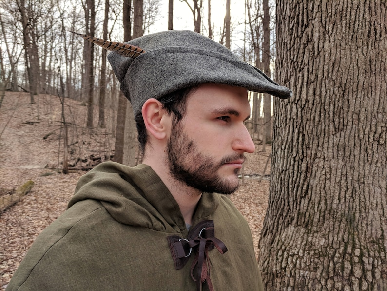 Medieval Robin Hood Hat Woodsman Wool 4 Colors Available  bbf5513a508