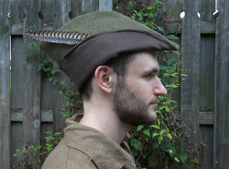 cfb68f98db0 Medieval Robin Hood Hat Woodsman Wool With Linen Lining