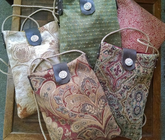 Renaissance Tapestry Purse, Medieval Bag, Cross Body Medium Size Bag W/ Celtic Knot Button, Gypsy, Art Fair - Choose Your Color - /F/ (LB)