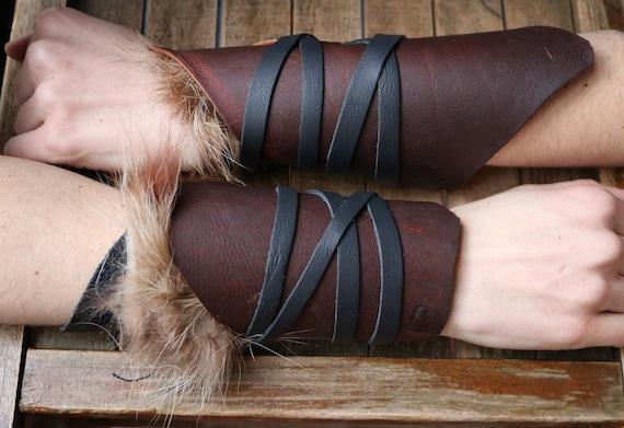 Leather Cuffs - Warrior Viking Tribal Larp Costume Cosplay - Pair #13b - /F/ (AB)