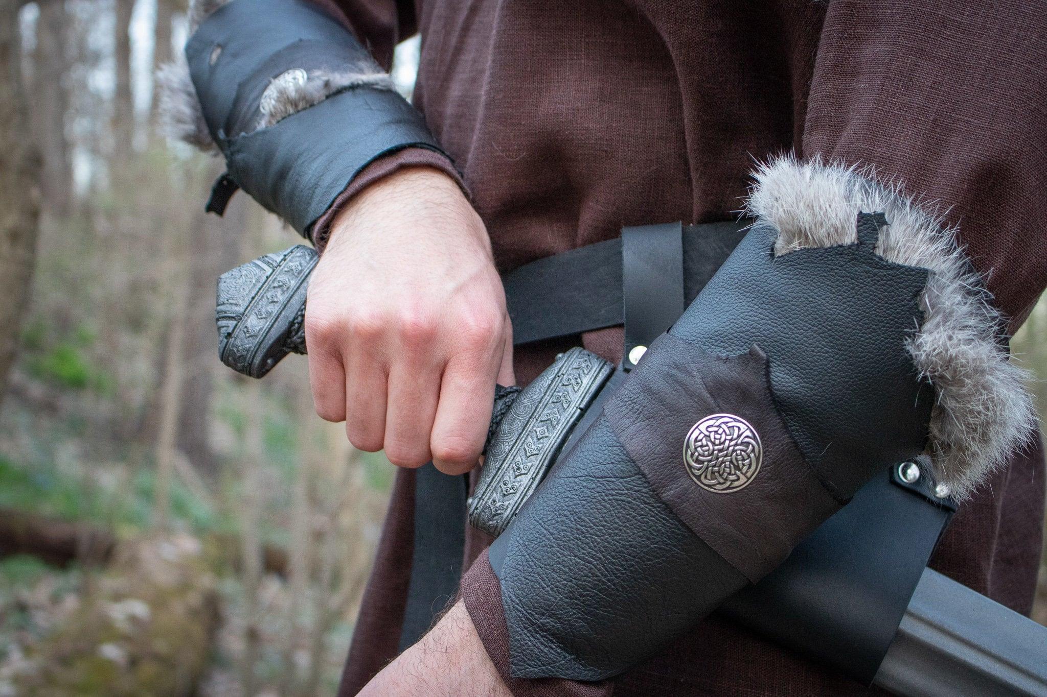 Medieval Celtic Viking Armor Long Leather Bracers