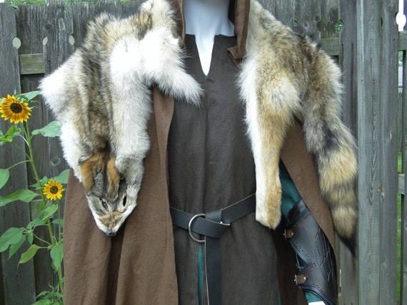 Coyote Fur Pelt Mantle, Viking, Medieval, Barbarian, Costume Accessory /P/ (AB)