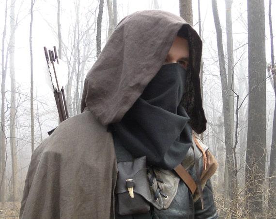 Black Face Mask, Thief, Ranger - Soft Cloth Mask, Basic Costume Cosplay Accessory - /F/ (AB)