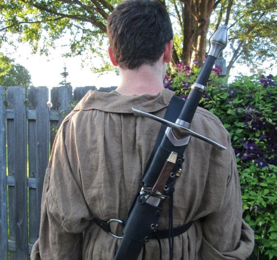 Leather Back Sword Strap - Medieval Renaissance Ranger Assassin Men's - /P/ (AB)